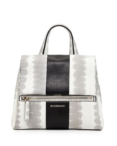 Pandora Small Watersnake Satchel Bag, White/Black