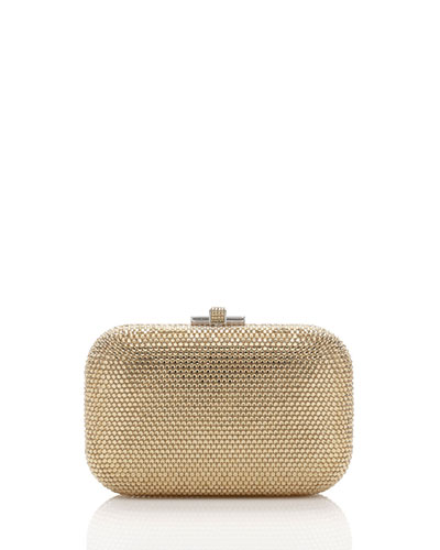 Crystal Slide-Lock Clutch Bag, Silver/Champagne
