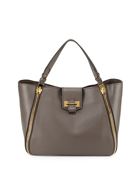 TOM FORD Sedgwick Medium Zip Tote Bag, Graphite