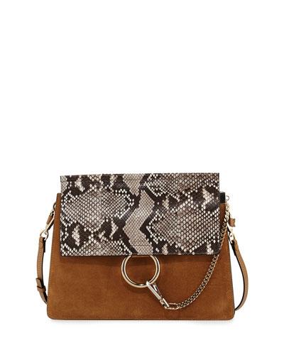 Faye Python Flap Shoulder Bag, Beige