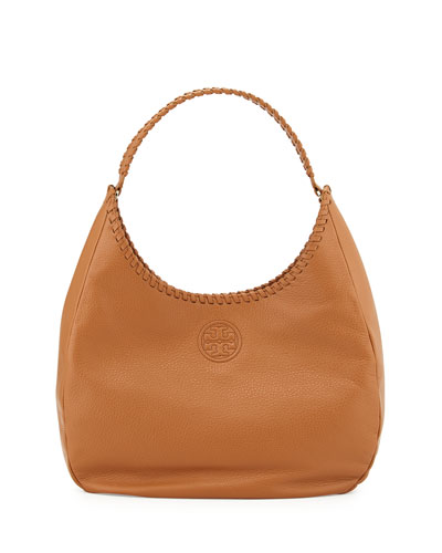 Marion Leather Hobo Bag, Bark