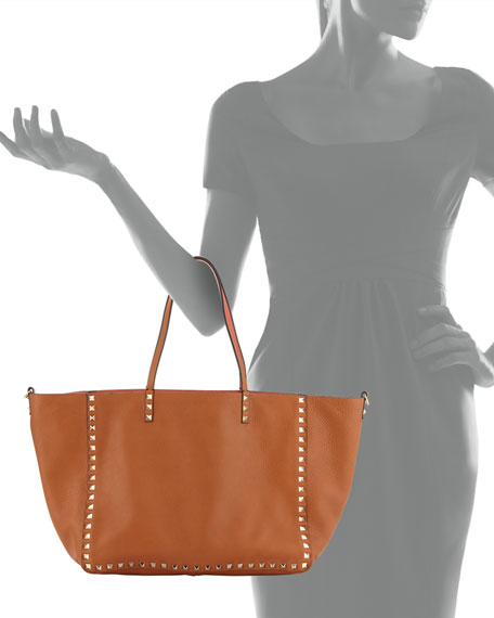 a65a80dde Valentino Garavani Rockstud Medium Reversible Tote Bag, Tan/Coral | Neiman  Marcus