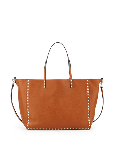 Rockstud Medium Reversible Tote Bag, Brown/Green