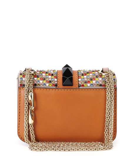 Crystal Mini Rockstud-Trim Flap Bag, Multicolor