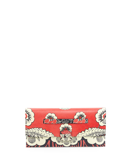 Valentino Floral-Print Covered Clutch Bag, Red Multi