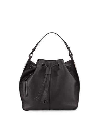 Lida Leather Bucket Bag, Black