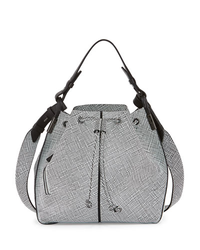 Lida Grid Multi-Carry Bucket Bag, White