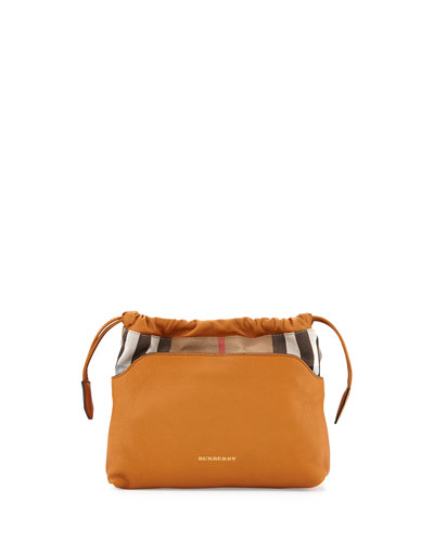 Leather/Check Drawstring Crossbody Bag, Cognac