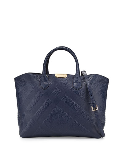 Check-Embossed Medium Tote Bag, Blue Carbon