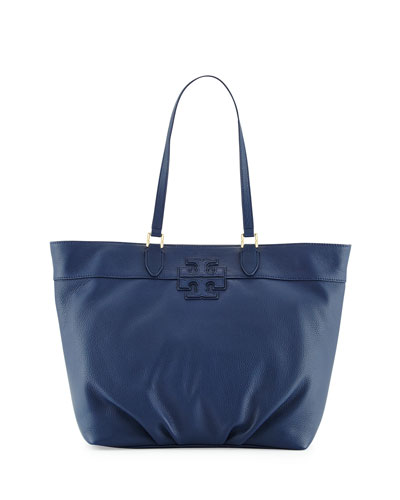 Leather Stacked-T Logo Tote Bag, Starless Night