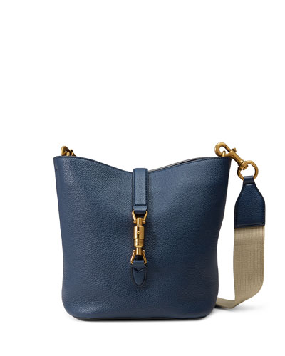Jackie Soft Leather Bucket Bag, Navy