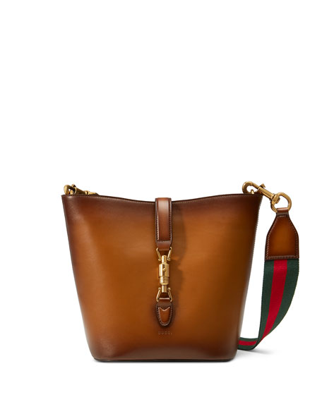 Gucci Jackie Soft Leather Ombre Bucket Bag, Brown