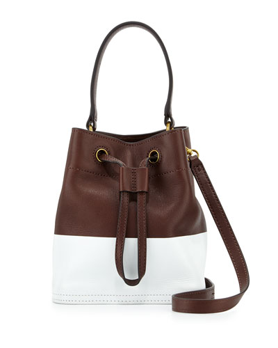 Mini Colorblock Leather Bucket Bag, Barrel/White