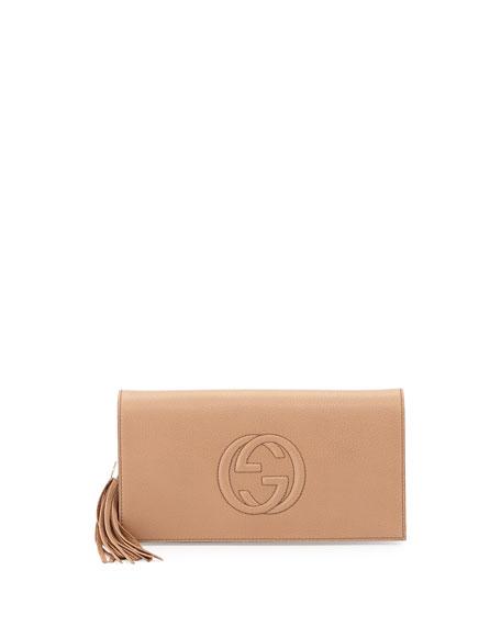 Soho Leather Clutch Bag, Camelia
