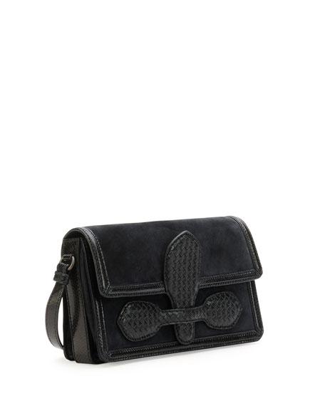 Bottega Veneta Intrecciato Suede Micro Shoulder Bag, Navy