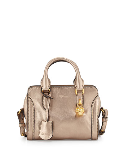 Mini Padlock Metallic Leather Satchel Bag, Nude/Gold