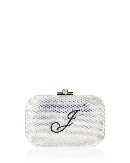 Judith Leiber Couture Monogram Crystal Slide-Lock Clutch Bag, Silver
