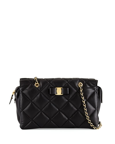 Ginette Small Leather Shoulder Bag, Nero/Gold