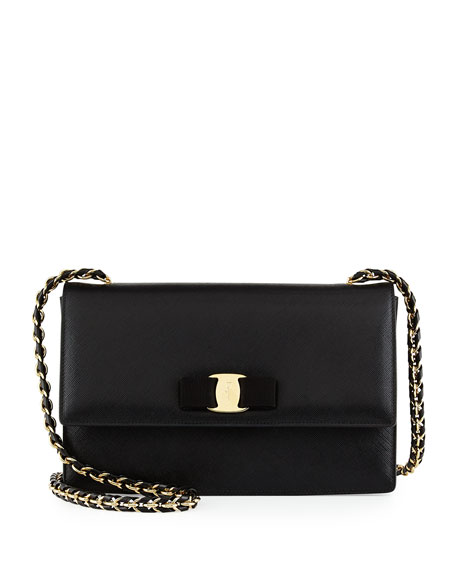 Salvatore Ferragamo Ginny Leather Bow Shoulder Bag, Nero