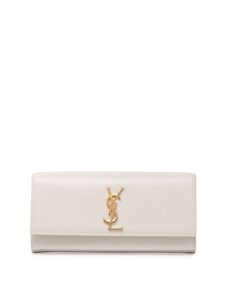 Monogram Smooth Leather Clutch Bag, White