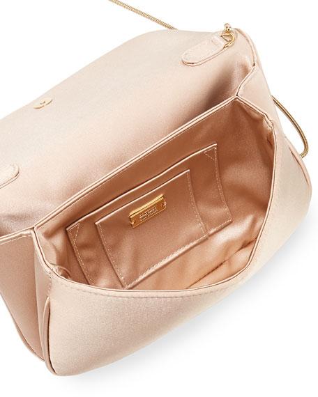 Angelina Satin Rhinestone Clutch Bag, Champagne