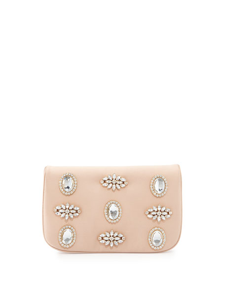 Angelina Satin Rhinestone Clutch Bag, Champagne