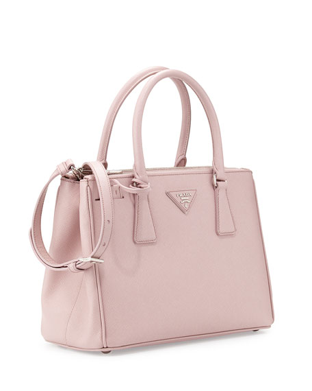 Saffiano Lux Double-Zip Tote Bag, Light Pink (Mughetto)