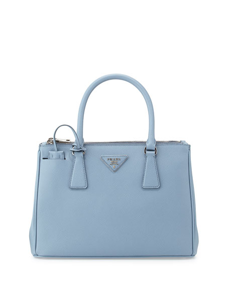 womens prada purse - Prada Saffiano Lux Double-Zip Tote Bag, Light Blue (Astrale)