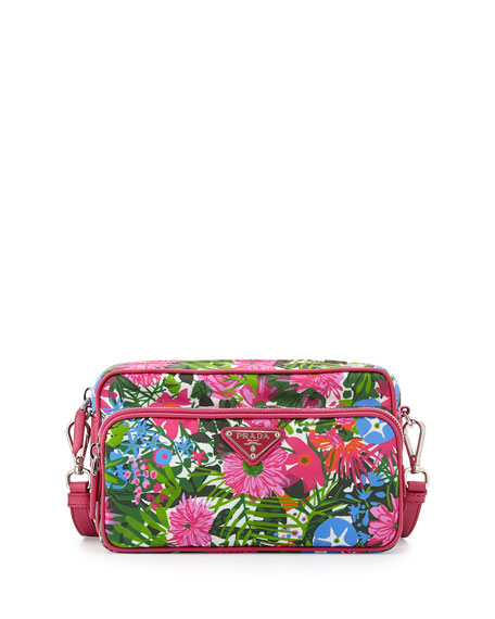 Prada Tessuto Printed Crossbody Bag, Pink Floral (Pink
