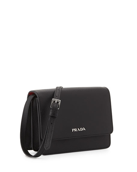 Saffiano Lux Crossbody Bag, Black (Nero)
