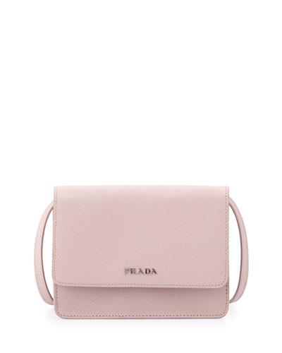 Saffiano Lux Crossbody Bag, Light Pink (Mughetto)