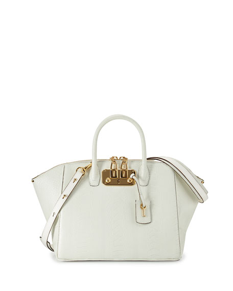 VBH Brera32 Ostrich Satchel Bag, White