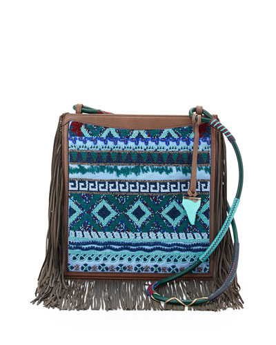 Beaded Fringe Crossbody Bag, Blue/Multi