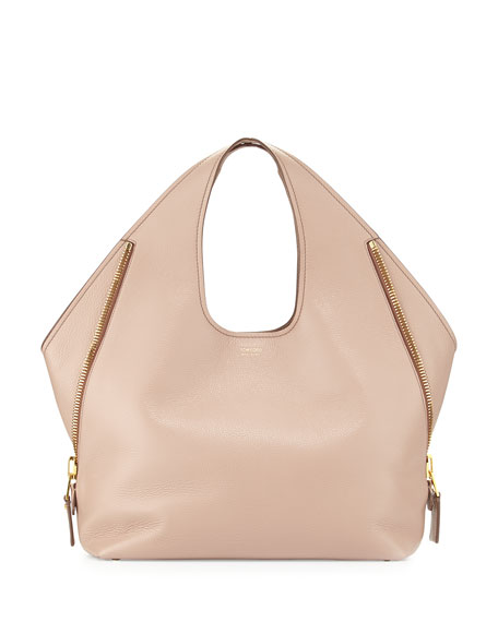 Jennifer Side-Zip Medium Leather Hobo Bag, Blush Nude