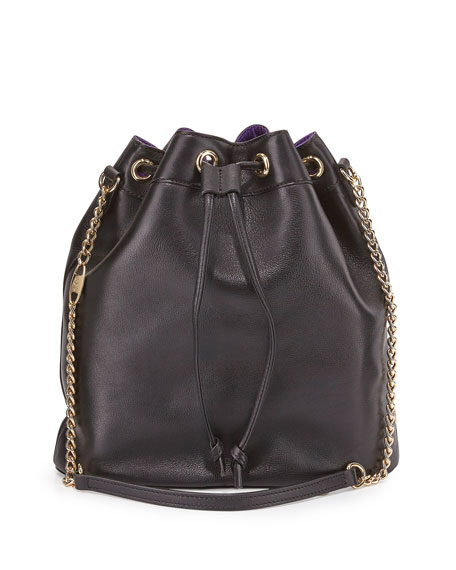 Madison Leather Bucket Bag, Black