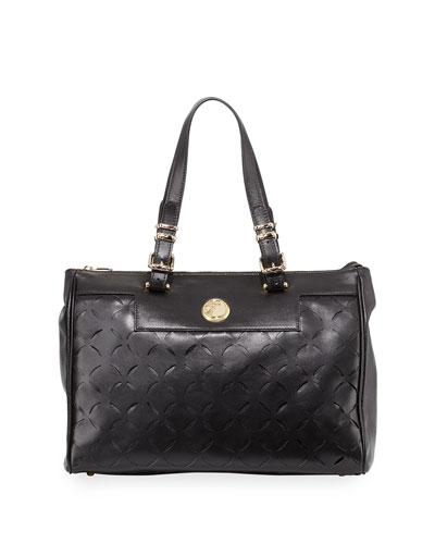 Leather Laser-Cut Tote Bag, Black