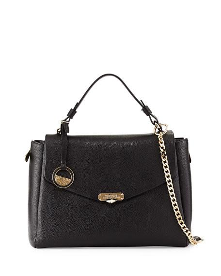 Top Handle Leather Satchel Bag, Black
