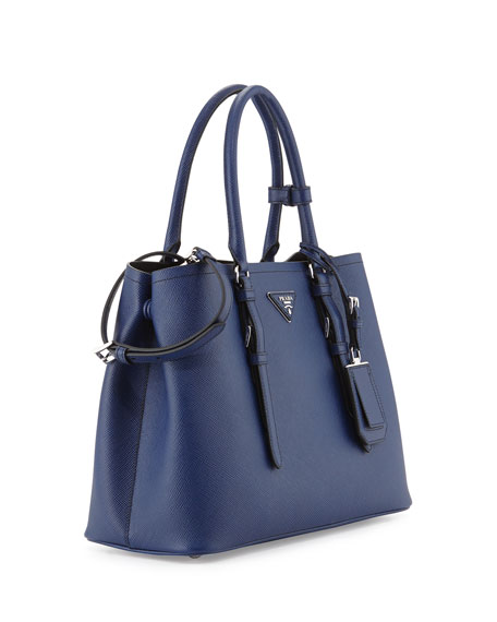Prada Saffiano Cuir Covered-Strap Double Bag, Bright Blue (Bluette) - prada galleria bag black+bright blue