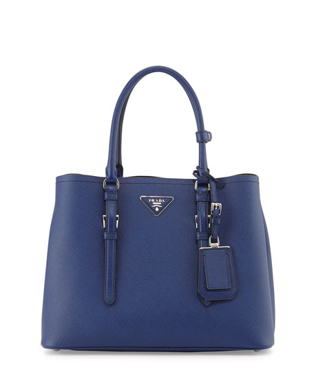 Prada Saffiano Cuir Covered-Strap Double Bag, Bright Blue