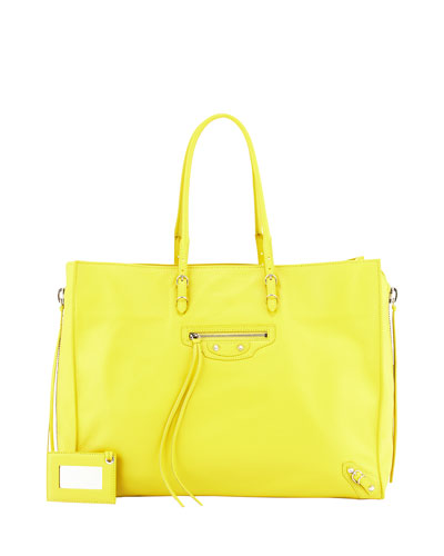 Papier A4 Side-Zip Leather Tote Bag, Jaune Sole