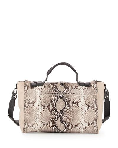 Aston Leather Satchel Bag, Fawn Python Print