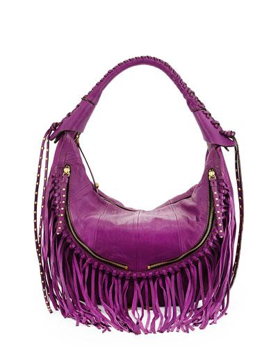 Angie Fringe Hobo Bag, Purple
