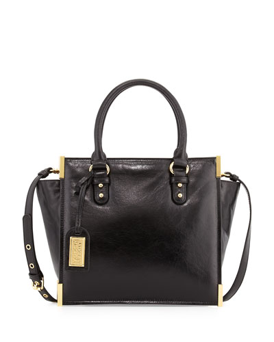 Joelle Shine Leather Satchel, Black
