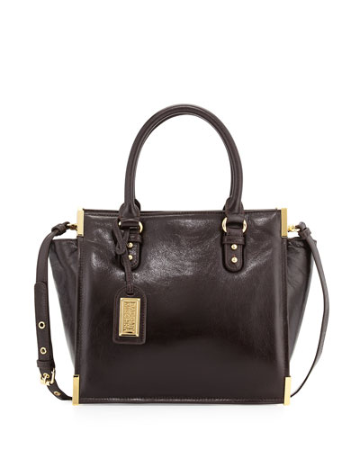Joelle Shine Leather Satchel, Espresso