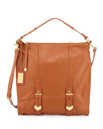 Helena Leather Shoulder Bag, Cognac