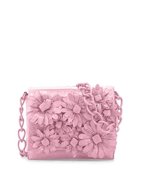 Crocodile Flower Chain Bag, Baby Pink Matte
