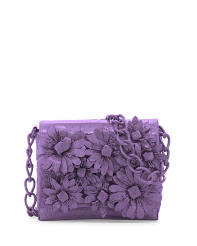 Crocodile Flower Chain Bag, Lilac Matte