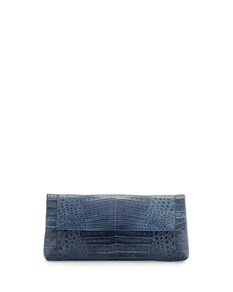 Gotham Crocodile Flap Clutch Bag, Denim Matte