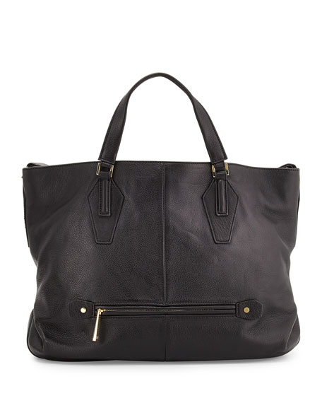 Halston Heritage Leather Convertible Hobo Bag, Black
