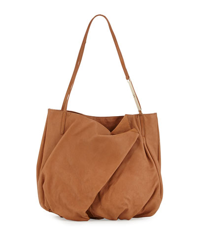 Double-Handle Leather Tote Bag, Toffee